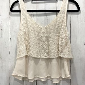 Band of Gypsies Cream Floral Lace Chiffon Crop Top